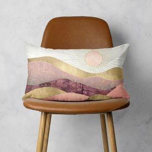 MOUNTAIN + SUN print pink lumbar pillow cover
